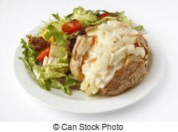 pomme de terre robe de chambre veste fromage salade latérale pomme terre plaque photos de