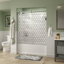 glass shower sliding doors delta mandara 60 in x 58 3 4 in semi frameless contemporary