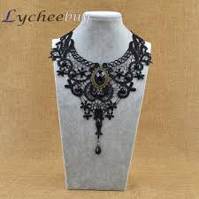 lace collar necklace images Steampunk black lace beads rhinestone choker collar necklace gothic jpg