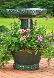 Flower Pot Bird Bath - unique bird bath with planter planters bath and bird