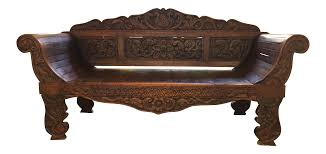 balinese carved wood daybed chairish
