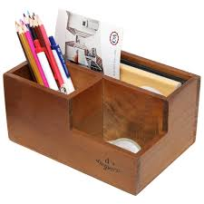 Desk Organizer With Drawer by 3 Compartment Classic Brown Wood Desktop Office Supply Desk Drawer