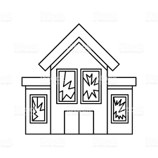 house outline house with broken windows icon outline style stock vector art