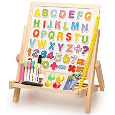 magnetic easel for toddlers amazon com lewo 3 in1 wooden magnetic art easel double sided