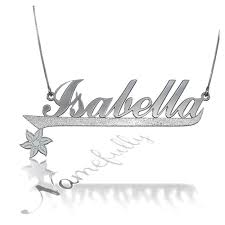 Customized Name Necklaces Customized Name Necklace With Sparkling Flower In Sterling Silver