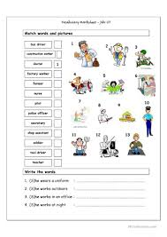vocabulary matching worksheet jobs 1 worksheet free esl