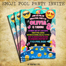 printable emoji pool party party invitation swim by happybarn