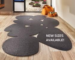 gray modern minimalist wool felt area rug eco friendly boho