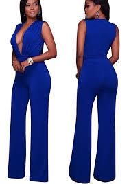 royal blue jumpsuit royal blue v neck sleeveless high waisted wide leg