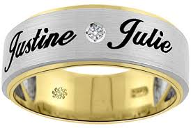 wedding rings with names name diamond gold mans wedding band
