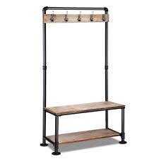 pipe shoe rack u0026 coat hanger hallway entry shelf ebay