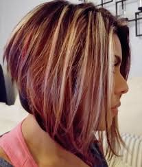 bolnde highlights and lowlights on bob haircut angled bob with blonde highlights brown and red lowlights perfect