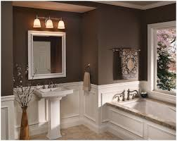interior cool gray bathroom tile designed with wooden vanity