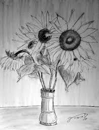 Pencil Sketch Of Flower Vase Vase With Five Sunflowers Drawing By Jose A Gonzalez Jr