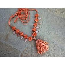 sari silk ribbon apricot style boho chic tassel fair trade sari silk