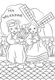 dutch vintage valentine u0027s day card coloring page free printable