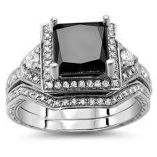 black diamond bridal set noori 14k white gold 2ct tdw certified princess cut black diamond