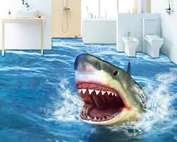 decoration home 3d flooring bathroom terror shark wallpaper 3d