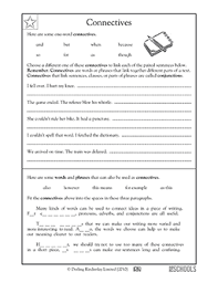 3rd grade 4th grade writing worksheets connectives language