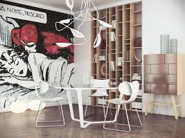 modern interior design canvas wall art ideas on grey concrete wall pop art comic wall mural decoration in retro dining room ideas