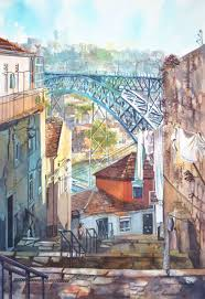 portuguese dream in beautiful architectural watercolors bored panda