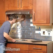 kitchen backsplash stainless steel tiles stainless steel kitchen backsplash the family handyman