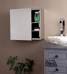 buy silver stainless steel cabinet with mirror by klaxon online