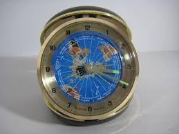 World Time Clock Map by Bulova Quartz Travel Alarm Clock World Time Zone Map Battery