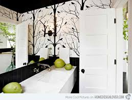 wallpaper ideas for bathrooms black and white wallpaper in 15 bathrooms and powder rooms home