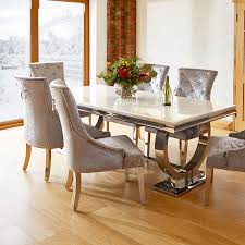 marble and chrome dining table and 6 silver louis chairs
