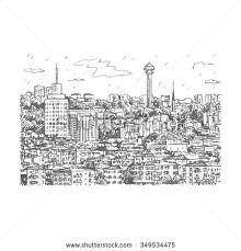 sketch city scape tokyo tower building stock vector 505251532