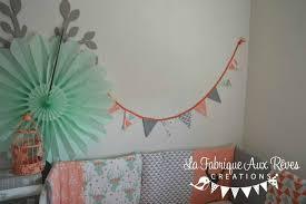 fanion chambre bébé guirlande banderole fanions corail mint vert eau gris cerf trophée