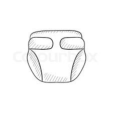 baby diaper vector sketch icon isolated on background hand drawn