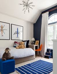 navy blue accent wall bedroom beach style with upholstered