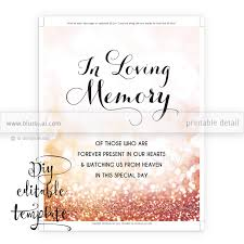 wedding memorial sign printable memorial sign template diy wedding memorial sign in