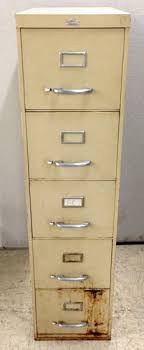 Yellow Metal Filing Cabinet All Steel Equipment Vertical Letter Size Five Drawer Metal File