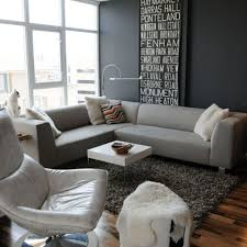 Minimalist Family Grey Wall Color And Leather Swivel Chair For Modern Family Room