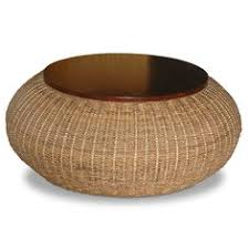 round wicker end table mobbi natural rattan round end table by kosas home end table