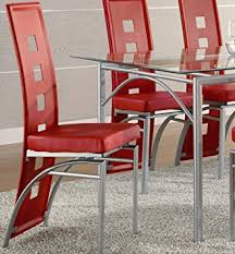 Red Dining Room Chair Amazon Com Coaster Set Of 2 Dining Chairs Red Leather Like Metal