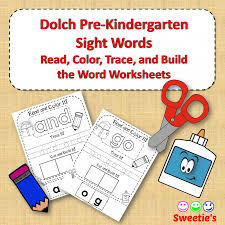 pre kindergarten read trace and build a word worksheets