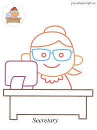secretary coloring pages preschool crafts