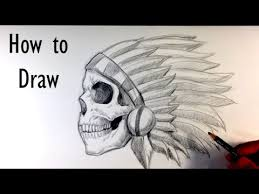 how to draw a skull chief tattoo skull drawings youtube
