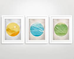 Living Room Art Sets Mid Century Modern Wall Art Set Circle Art Set Of 3 Prints