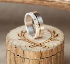 mens wedding band elk antler ring w 10k gold inlay staghead