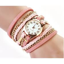 pink bracelet watches images Pink leather wrap stud watch from category watches trendi png