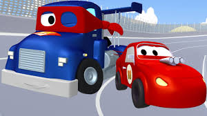 carl transform and the racing car in car city truck cartoon for