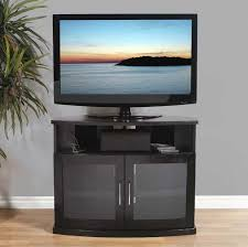 Corner Tv Cabinet For Flat Screens Plateau Newport Series Corner Wood Tv Cabinet With Glass Doors For