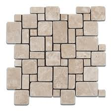 durango cream paredon travertine tumbled mini versailles pattern