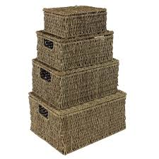 jvl natural seagrass oblong storage baskets boxes hampers with
