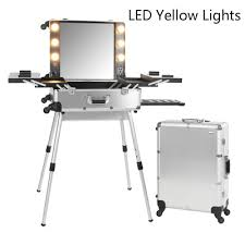 Professional Makeup Desk Silver Led Yellow Professional Makeup Station Box Trolley Aluminum
